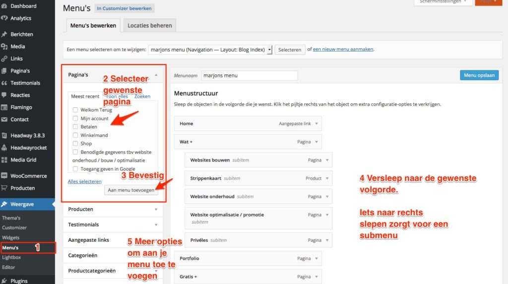 wordpress-menu-aanpassen
