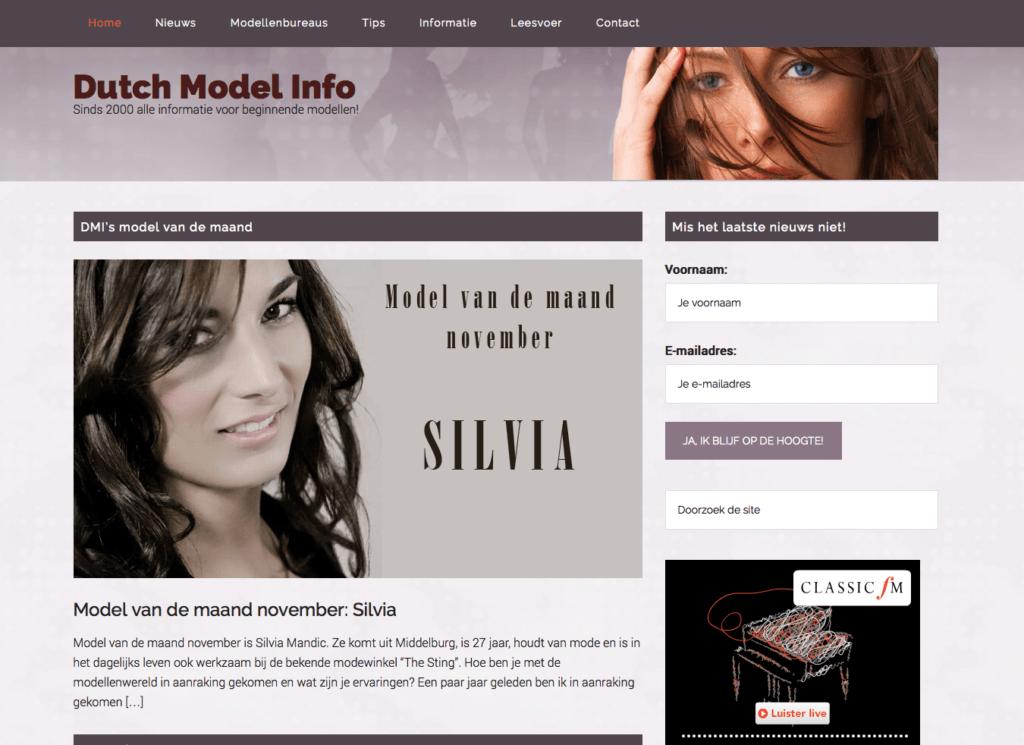 Dutch Model Info website WordPress